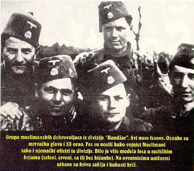 A Group Of Muslim Volunteers From The Handzar Division All Wear Fez Their Logo Consists Skull And Crossbones An SS Eagle